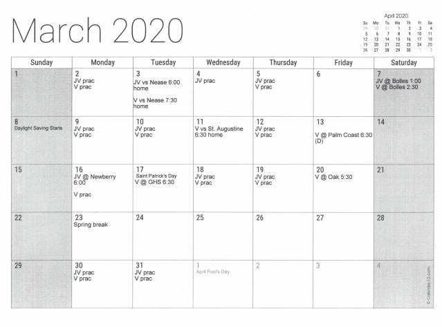 March practice and game calendar